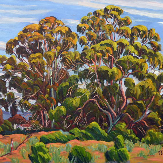 Two Giant Eucalyptus, Oil on canvas, 30 x 40 inches