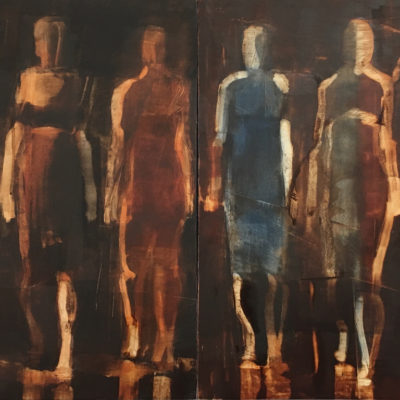 Walking Figures, Oil on panel, 12 x 24 inches