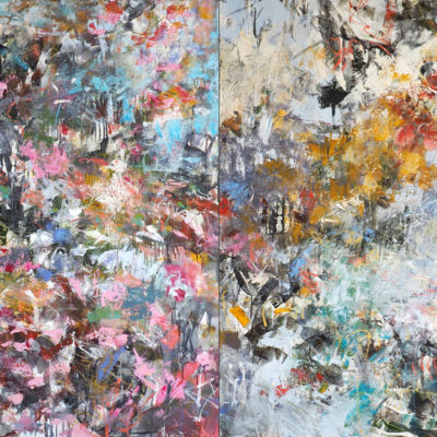 Conducting Opus 1 and 11, diptych, 60 x 96 inches