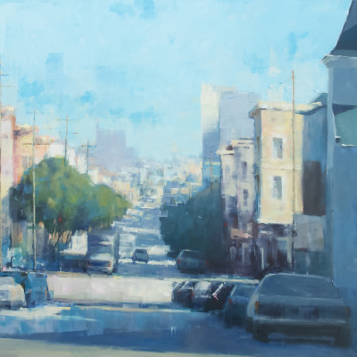 Across Town, Oil on panel, 36 x 48 inches