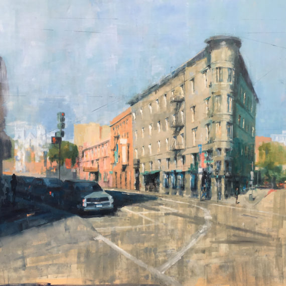 North Beach at Kearny and Columbus, Oil on canvas, 40 x 40 inches