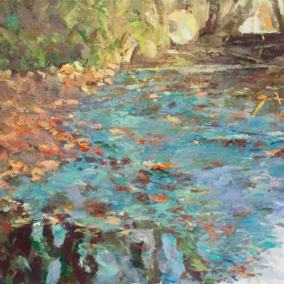 San Pablo Creek, Acrylic on canvas, 51 x 61 inches