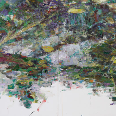 Untitled Diptych 1, Acrylic on canvas, 40 x 96 inches