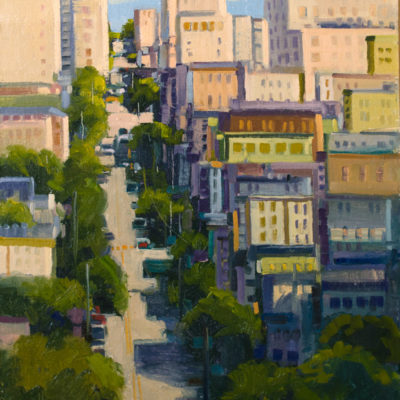 Down Broadway, Oil on panel, 20 x 16 inches