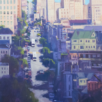 Two Busses on Broadway, Oil on canvas, 30 x 24 inches