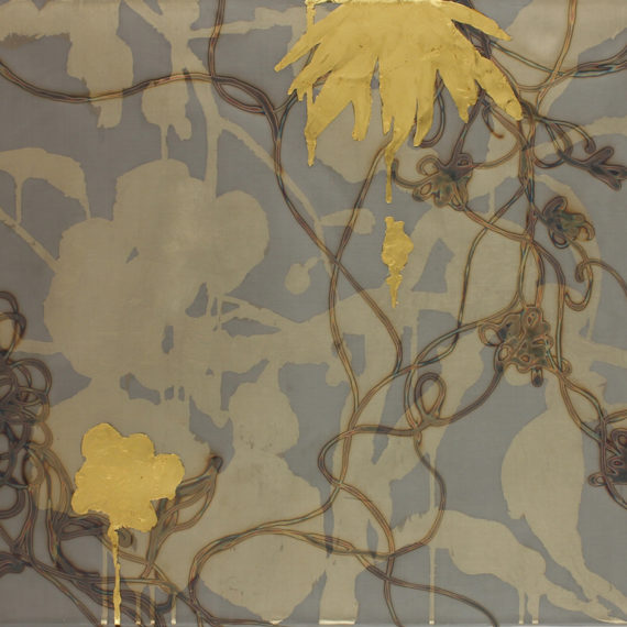 Alchemy 2448-1, Gold leaf and torched mesh, 24 x 48 inches