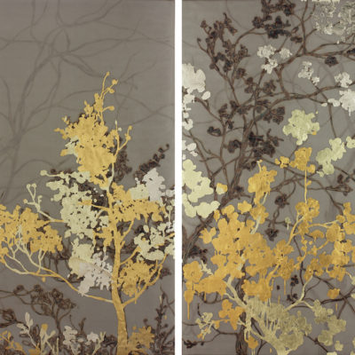 Gold Trees, Diptych, 60 x 80 inches, Gold leaf and torch on metal mesh, 60 x 80 inches