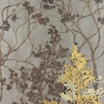 Gold Trees 7240-1, Gold leaf and torch on metal mesh, 72 x 40 inches