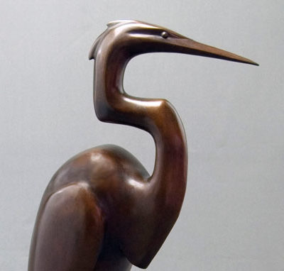 Large Egret, Bronze, 23 x 12 inches