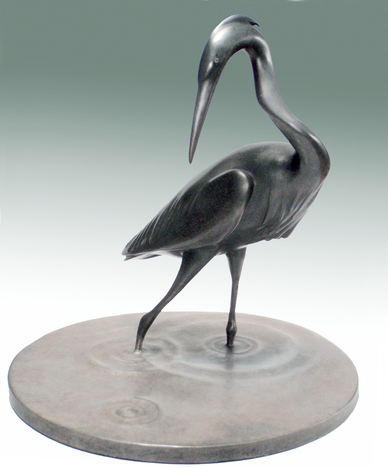 Heron, Bronze, 11 x 11 inches