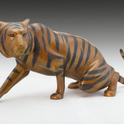 Tiger, Bronze, 9 x 21 inches