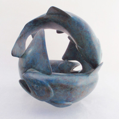 Tumble of Trout, Bronze 7 x 7 inches