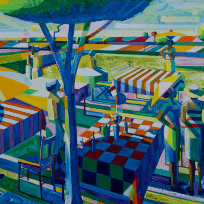Conversational Picnic, Acrylic on canvas, 65 x 86 inches
