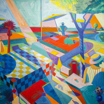 Picnic WIth Red Palm, Acrylic on canvas, 52 x 73 inches