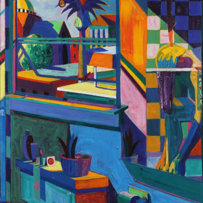 Reflections Interior With Temple and Palm Trees, Acrylic on canvas, 53 x 37 inches