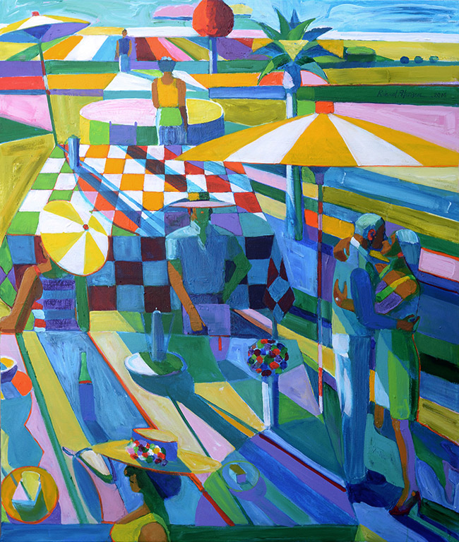 The Engagement, The Engagement Party Picnic, Acrylic on canvas, 54 x 47 inches