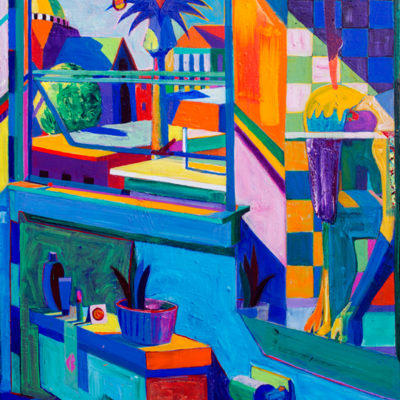 Reflections, Interior Figure With Temple and Palm Tree, Acrylic on Canvas, 53 x 37 inches