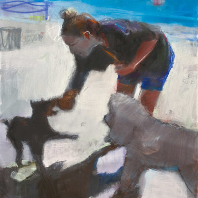 2 Dogs, Oil on Canvas, 48 x36 inches