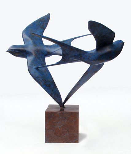 Barn Swallows, Bronze, 12 x 12 inches