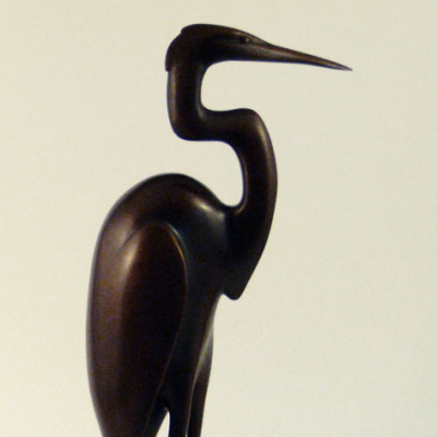 Egret, Bronze, 11 x 6 inches