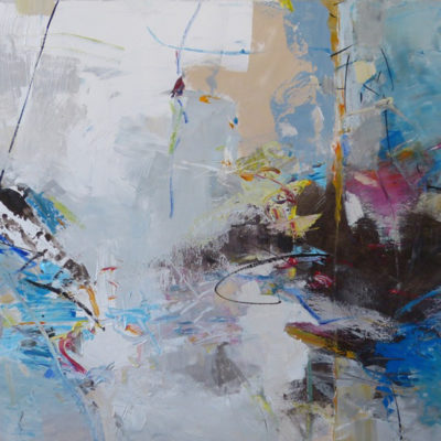 Amplitude, Mixed media on canvas, 36 x 72 inches