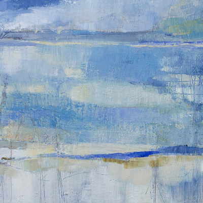 Blue Day, Sunny Day, Mixed media on canvas, 24 x 48 inches