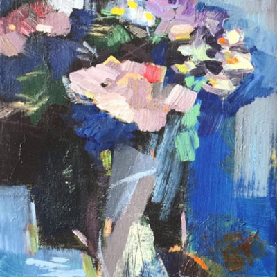Bouquet in the Morning, Mixed media on canvas, 14 x 11 inches