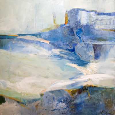 In Balance by the Sea, Mixed media on canvas, 36 x 36 inches