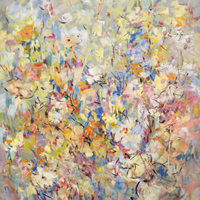 Spring Blooms, Mixed media on canvas, 60 x 48 inches
