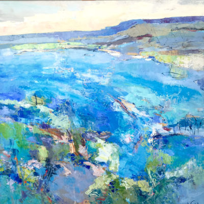Summer Bay, Mixed media on canvas, 48 x 48 inches