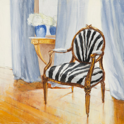 Zebra Chair, Oil on panel, 6 x 6 inches