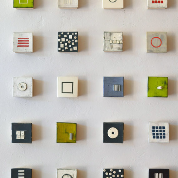 Small Wall Squares, Ceramic Sculpture, 4 x 4 inches