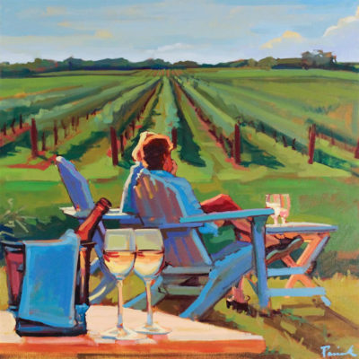 Vineyard By Two, Oil on canvas, 36 x 36 inches