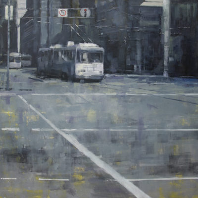 Bus Stop, Oil on canvas, 36 x 36 inches