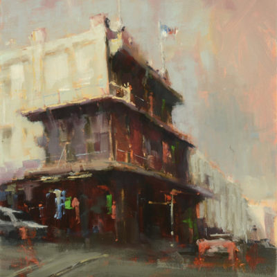 Stormy Day,Chinatown, oil on canvas, 14 x 11 inches