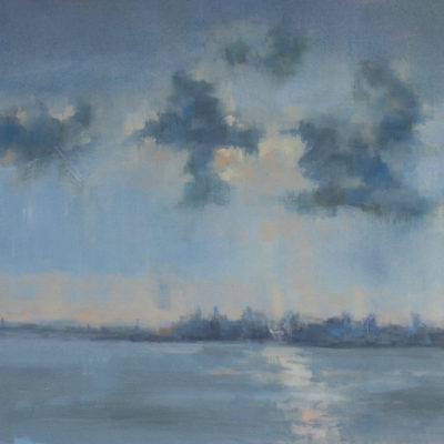 Sunrise Over San Francisco, Oil on canvas, 15 x 30 inches