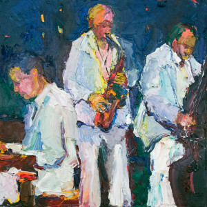 The Jazz Trio, Oil on canvas, 24 x 24 inches