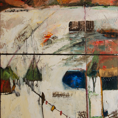 Mountain Time Diptych, Oil on canvas, 38 x 24 inches