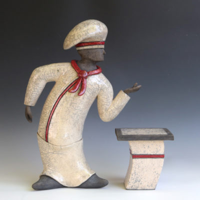 Chef with Table, Ceramic, 18 x 18 inches