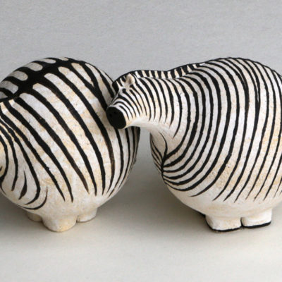 Zebras, Ceramic, 4 x 4 inches