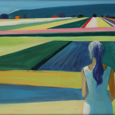 Figure in a Landscape, Acrylic on canvas, 36 x 60 inches
