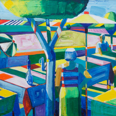 Picnic With Two Trees, Acrylic on canvas, 2004, 31 x 41 inches