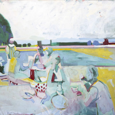 Picnic With Dotted Bowl, Oil on canvas, 59 x 71 inches