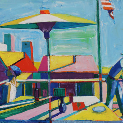 The Terrace With Flag, Acrylic on canvas, 16 x 27 inches
