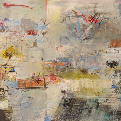 Dialog With My Notebook, Mixed media on canvas, 48 x 60 inches
