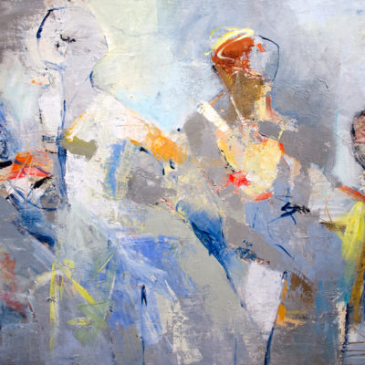 Somewhere and Beyond, Mixed media on canvas, 36 x 72 inches