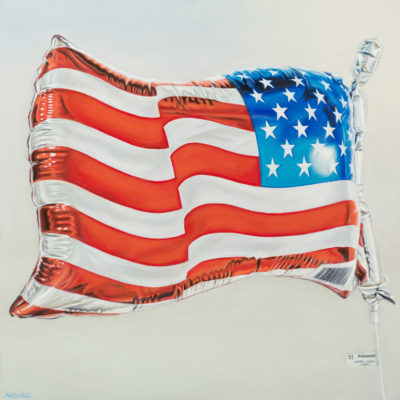American Flag, Oil on canvas, 30 x 30 inches