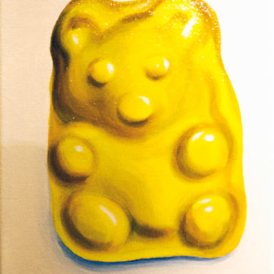 Yellow Gummy Bear, Acrylic on canvas, 10 x 8 inches
