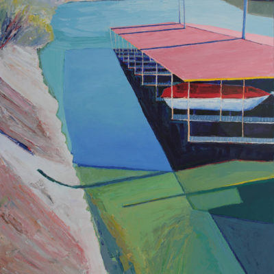 River Marina Sacramento, Acrylic on canvas, 60 x 48 inches